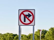 No Right Turn Sign. A metal no right turn sign stock image