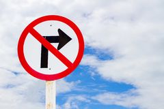 No right turn traffic sign. With blue sky Stock Images