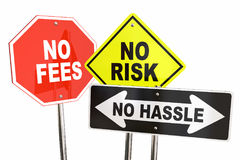 No Risk Fees Hassle Signs Road Street Best Choice 3d Illustration vector illustration