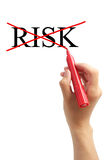 No Risk Remove Risk Concept. Hand with red marker placing cross on word Risk isolated on white background Royalty Free Stock Images