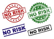 Grunge Textured NO RISK Seal Stamps. NO RISK seal prints with corroded texture. Black, green,red,blue vector rubber prints of NO RISK caption with dust style royalty free illustration
