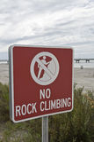 No Rock Climbing. Sign near the beach at Fort Desoto in Florida Stock Photography
