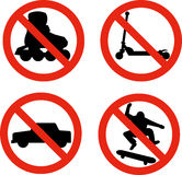 No roller blade scooter car skater Stock Photos