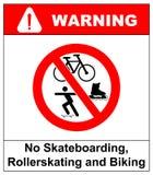 No roller blade, scooter, roller, skater or skating signs in red prohibition circle. Vector illustration. stock illustration