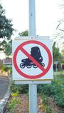 No roller skating - sign. Do not play sket board sign in park Stock Images