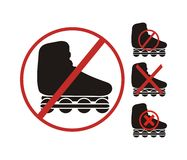 No rollerblading symbol Stock Images