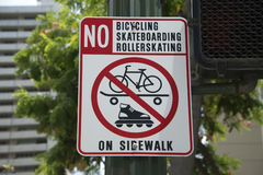 No rollerskating bicycling skateboarding sign Royalty Free Stock Photography