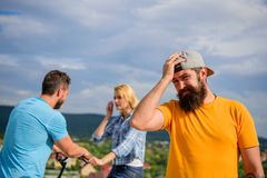 No romantic in his life. Man hipster feels lonely couple dating behind him. Man regret not asked her go out. Now she. Dating with another guy. Hipster regretful royalty free stock photography