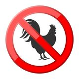 No rooster traffic sign Royalty Free Stock Photo