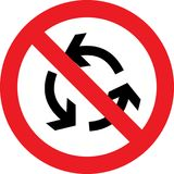 No roundabout sign. No roundabout allowed sign royalty free illustration