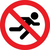 No running sign. No running allowed sign stock illustration