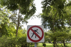 No Running In Park Royalty Free Stock Photography