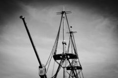 No sails. Old ship no sails. Black and white. Cacilhas. Portugal. BW stock photo