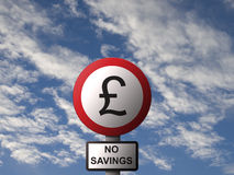 No Savings. Constructed Road Sign image displaying No Savings message Royalty Free Stock Images