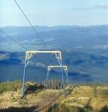 No season. Ski lift in summer. Carpathian mountain range, Ukraine Royalty Free Stock Image