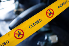 No seating tape. Closed or no seating tape blocking access to passenger seats on an airplane royalty free stock image