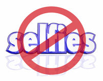 No Selfies 3d Word Self Portraits Digital Camera Phone Social Me. No Selfies symbol on 3d letters to illustrate people being annoyed with self portraits taken on Stock Photo