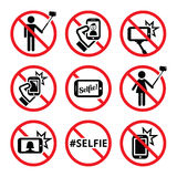 No selfies, no selfie sticks  signs Stock Images