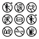 No selfies, no selfie sticks vector signs Royalty Free Stock Image