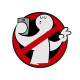 No selfies sign. Cartoon no selfies sign on white background Stock Image