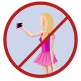 No selfies, woman taking picture of herself vector vector illustration