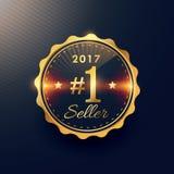2017 no. 1 seller golden premium badge label design. Vector Royalty Free Stock Photo