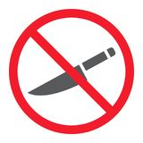 No sharp glyph icon, prohibition and forbidden. No knife sign vector graphics, a solid pattern on a white background, eps 10 royalty free illustration