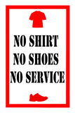 No shirt no shoes sign Stock Images