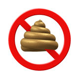 No Shit 3D poop isolated symbol. No bullshit, shit prohibit warning sign. Fresh wet stinky cartoon poo (excrement, feces). PNG with transparent background Royalty Free Stock Photos