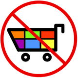 No shopping. Sign with colourful shopping cart Royalty Free Stock Photo