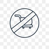 No shopping cart vector icon isolated on transparent background, royalty free illustration