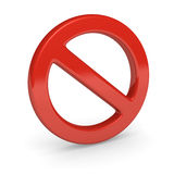 No sign. 3d render. Red no sign. 3d render Royalty Free Stock Image