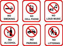 No sign icons. This is an illustration showing no sign icons. Icons are available for No Smoking, No Cell Phone, No Loud Music, No Alcohol, No Parking and No Vector Illustration