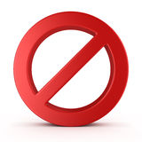 No Sign , isolated on white background Stock Photos
