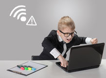 No signal. Angry boy with laptop. Connection closed. No wireless connection available Royalty Free Stock Images