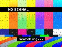 No signal glitch TV. Distorted color lines. Digital glitch distortion. Screen with color bars and noise. Vector stock illustration