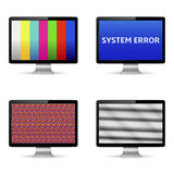 No signal, system error message and test image on computer digital screens Royalty Free Stock Images