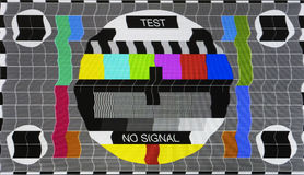 No signal test tv screen card. Old tv Stock Photo
