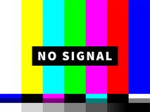 No signal TV test card of vector color bars stock illustration