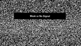 No signal. Weak or No Signal inscription on television screen with noise stock video