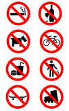 No Signs. A set of eight signs for various restrictions