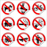 No signs. 9 prohibited signs that are common in use royalty free illustration