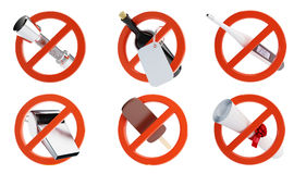 No signs for different prohibited activities set Stock Images