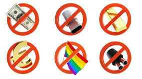 No signs for different prohibited activities set Royalty Free Stock Photos