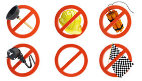 No signs for different prohibited activities set on a white background Royalty Free Stock Photography