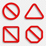 No signs. Forbidden red signs isolated on transparent background. royalty free illustration
