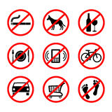 No signs, prohibition signs Stock Photo