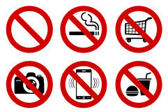 No signs. Set of No signs for different prohibited activities. No smoking, no drinking, no photographing, and other. Vector illustration - you can simply change Royalty Free Stock Photo