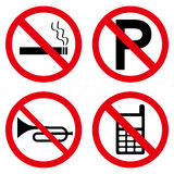 No Signs. A set of four signs for various restrictions. Eps file available Royalty Free Illustration