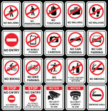 No signs to warn in different situations like no entry. Stock Photo
